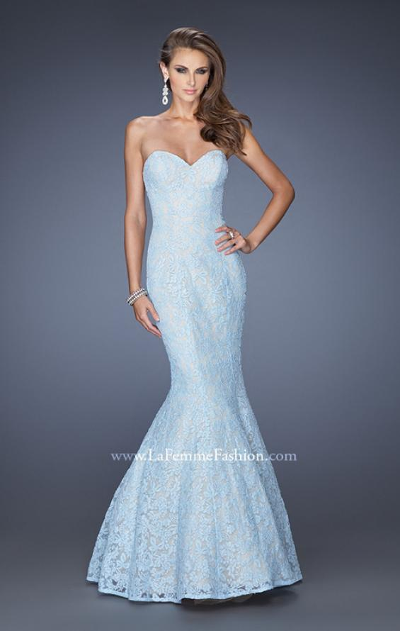 Picture of: Lace Mermaid Prom Dress with Fitted Silhouette in Blue, Style: 20047, Main Picture