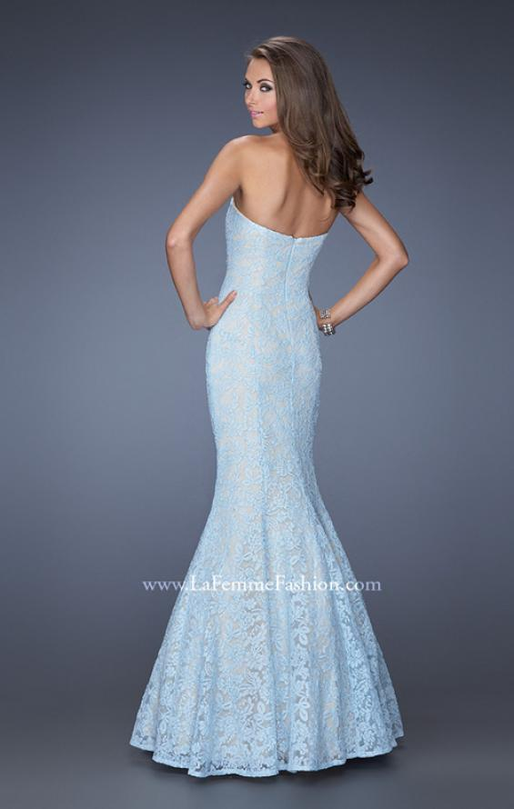 Picture of: Lace Mermaid Prom Dress with Fitted Silhouette in Blue, Style: 20047, Back Picture