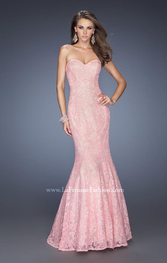 Picture of: Lace Mermaid Prom Dress with Fitted Silhouette in Pink, Style: 20047, Detail Picture 1