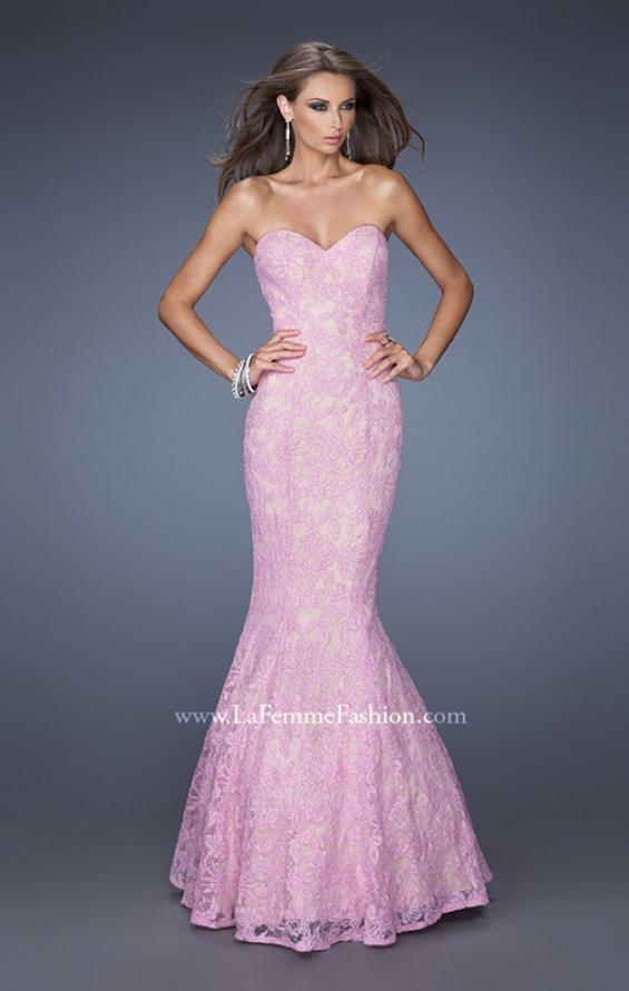Picture of: Lace Mermaid Prom Dress with Fitted Silhouette in Purple, Style: 20047, Detail Picture 2