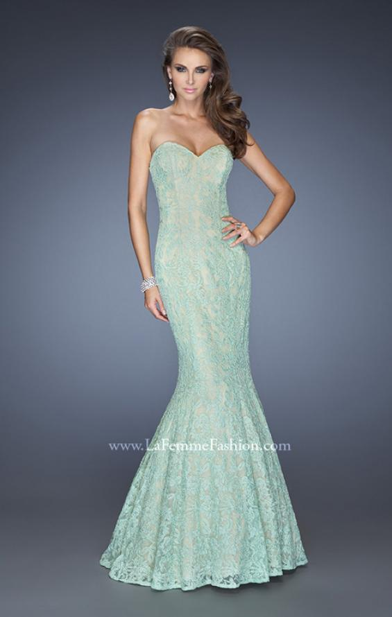 Picture of: Lace Mermaid Prom Dress with Fitted Silhouette in Green, Style: 20047, Detail Picture 3