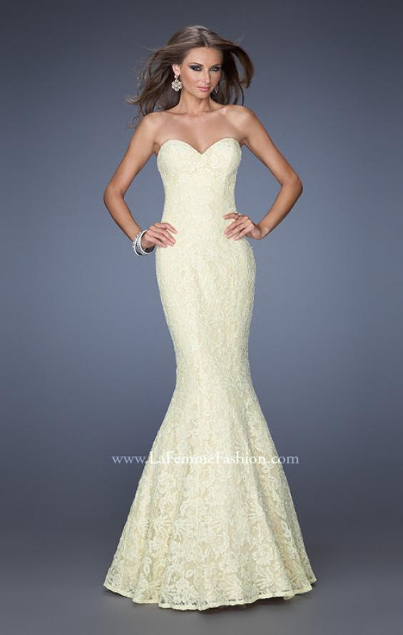 Picture of: Lace Mermaid Prom Dress with Fitted Silhouette in Yellow, Style: 20047, Detail Picture 4