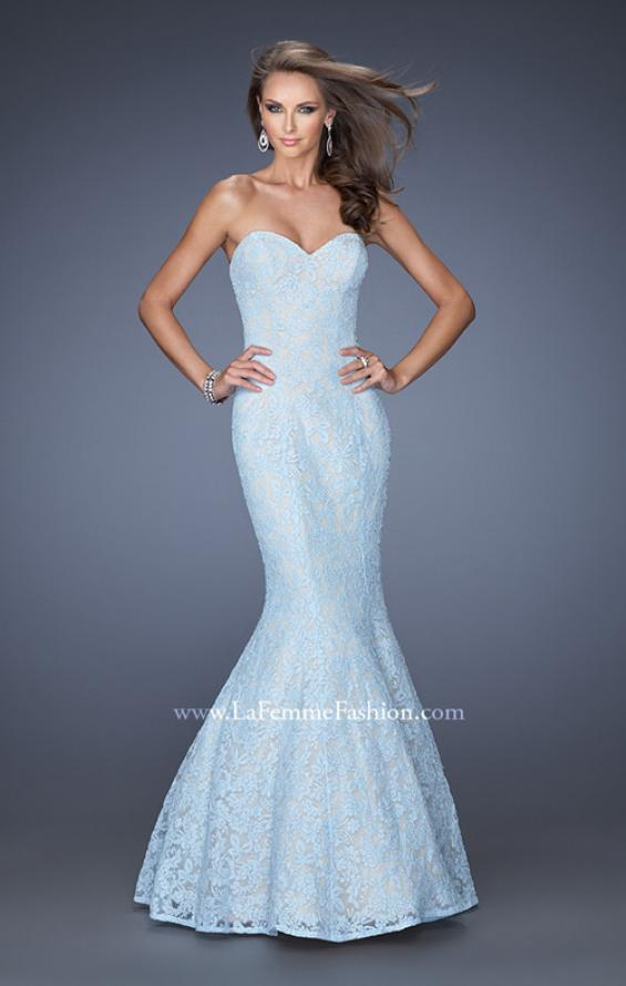 Picture of: Lace Mermaid Prom Dress with Fitted Silhouette in Blue, Style: 20047, Detail Picture 5
