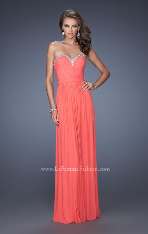 Picture of: Pleated Bodice Net Jersey Long Prom Gown in Orange, Style: 20048, Main Picture