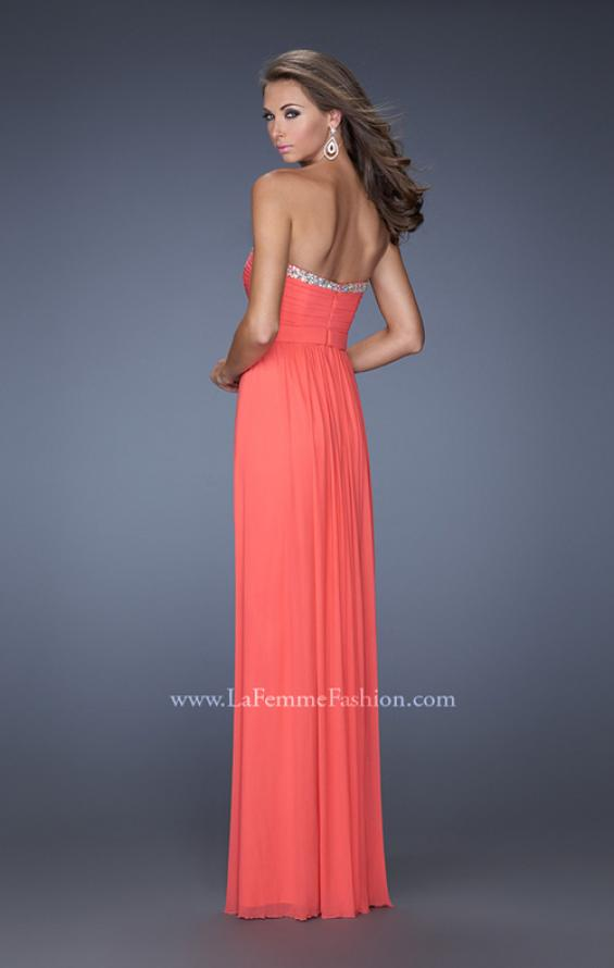 Picture of: Pleated Bodice Net Jersey Long Prom Gown in Orange, Style: 20048, Back Picture