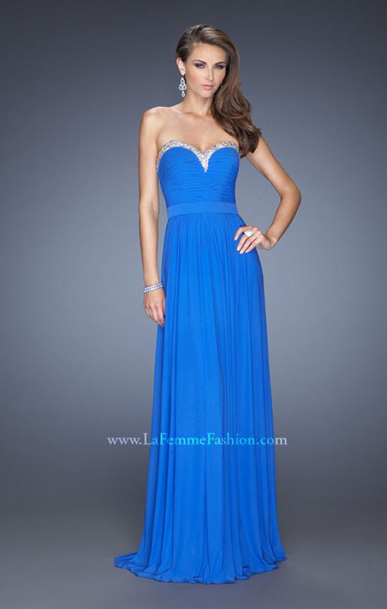 Picture of: Pleated Bodice Net Jersey Long Prom Gown in Blue, Style: 20048, Detail Picture 1