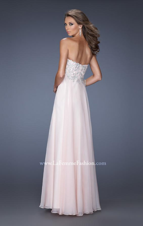 Picture of: Chiffon Prom Gown with Empire Waist and Jewels, Style: 20057, Back Picture