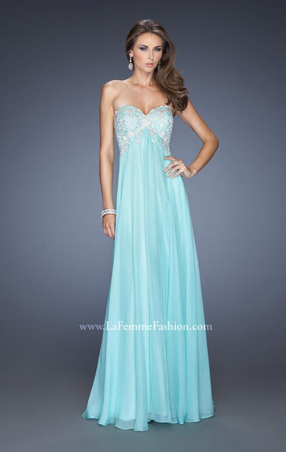 Picture of: Chiffon Prom Gown with Empire Waist and Jewels, Style: 20057, Detail Picture 1