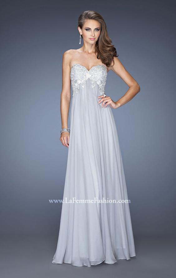 Picture of: Chiffon Prom Gown with Empire Waist and Jewels, Style: 20057, Detail Picture 2