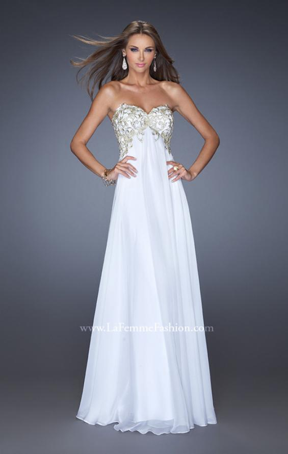 Picture of: Chiffon Prom Gown with Empire Waist and Jewels, Style: 20057, Detail Picture 5