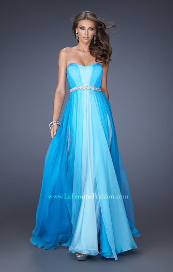 Picture of: A-line Prom Dress with Pearl Belt and Ombre Effect in Blue, Style: 20058, Main Picture