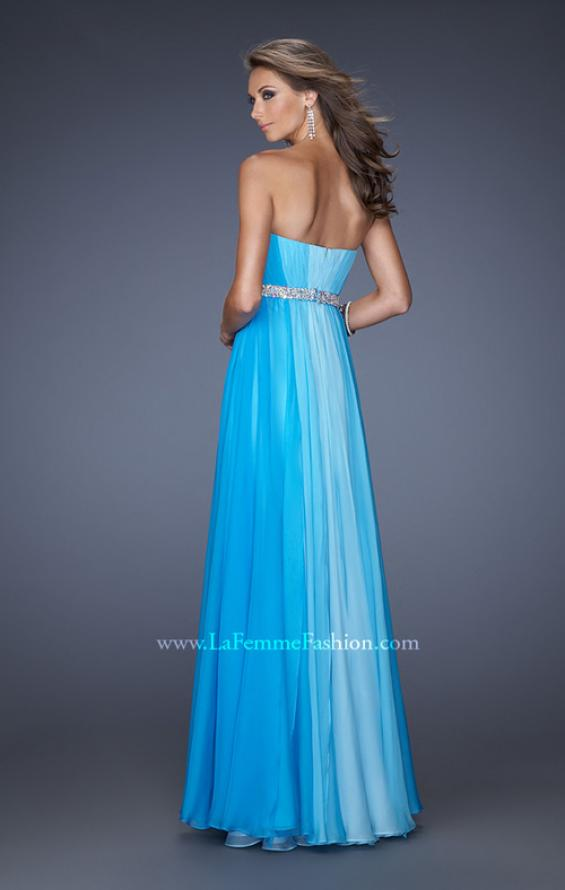 Picture of: A-line Prom Dress with Pearl Belt and Ombre Effect in Blue, Style: 20058, Back Picture