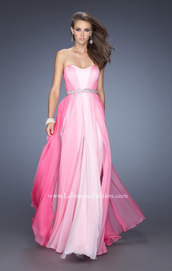 Picture of: A-line Prom Dress with Pearl Belt and Ombre Effect in Pink, Style: 20058, Detail Picture 2