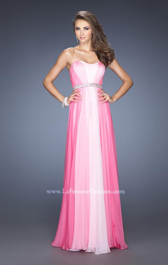 Picture of: A-line Prom Dress with Pearl Belt and Ombre Effect in Pink, Style: 20058, Detail Picture 3