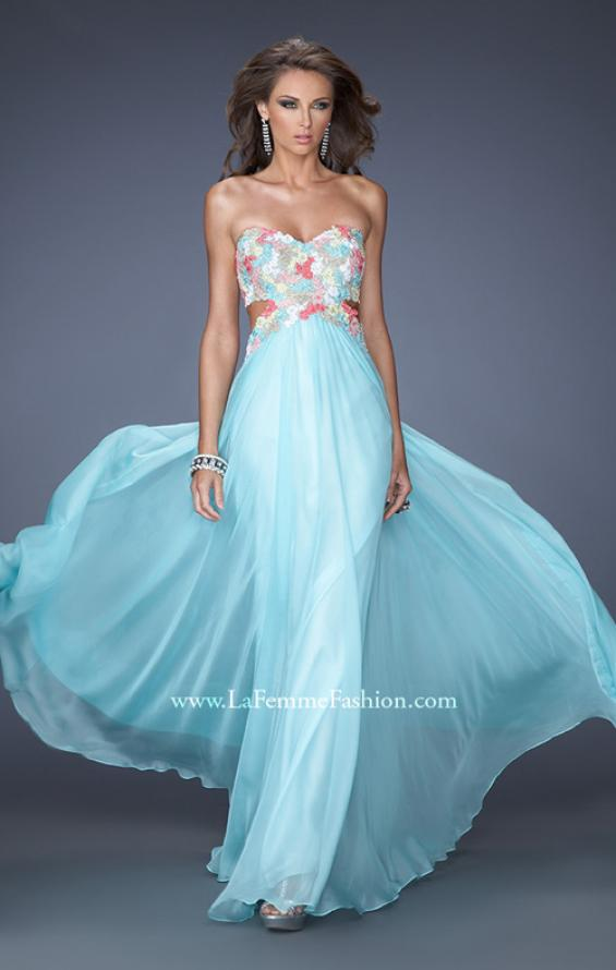 Picture of: Chiffon Prom Gown with Lace, Jewels, and Cut Outs, Style: 20059, Main Picture