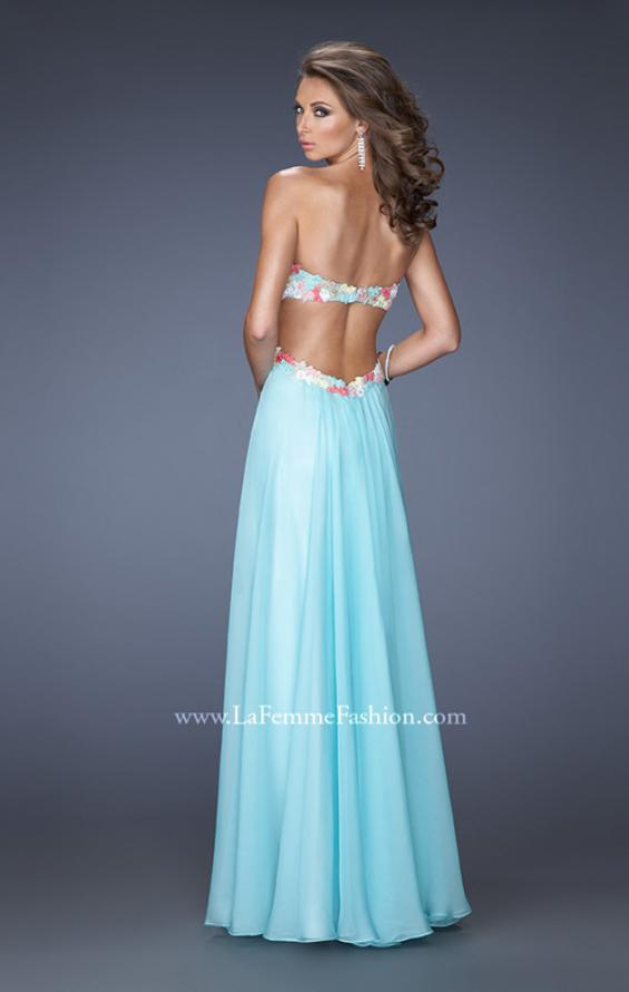 Picture of: Chiffon Prom Gown with Lace, Jewels, and Cut Outs, Style: 20059, Back Picture
