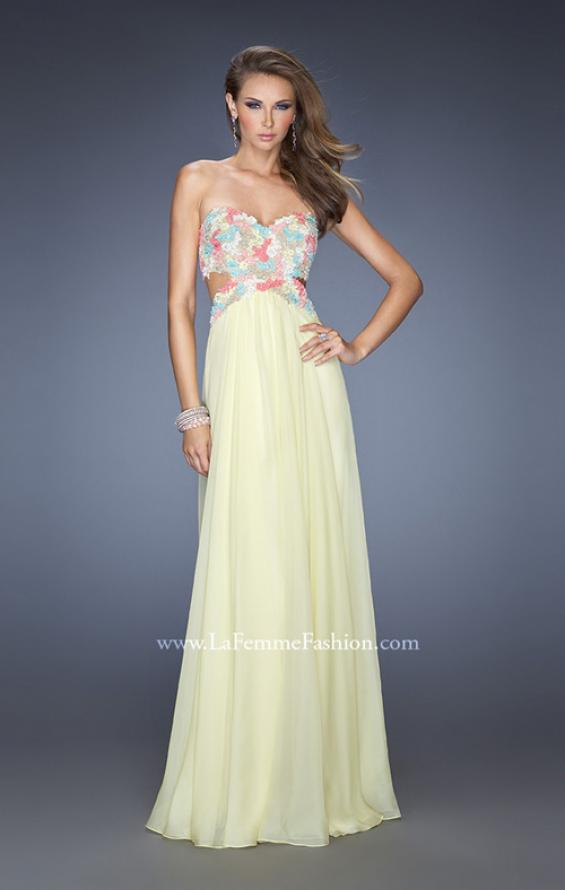 Picture of: Chiffon Prom Gown with Lace, Jewels, and Cut Outs, Style: 20059, Detail Picture 1