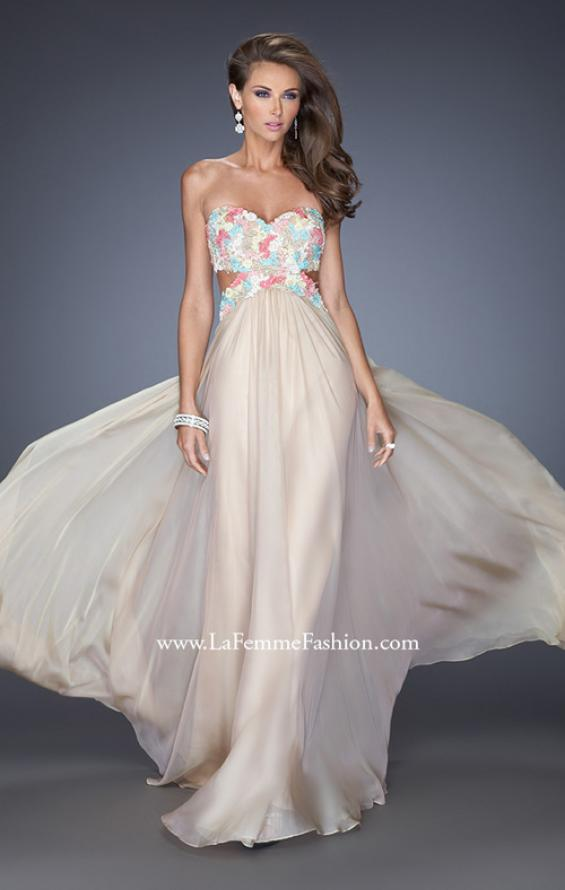 Picture of: Chiffon Prom Gown with Lace, Jewels, and Cut Outs, Style: 20059, Detail Picture 2