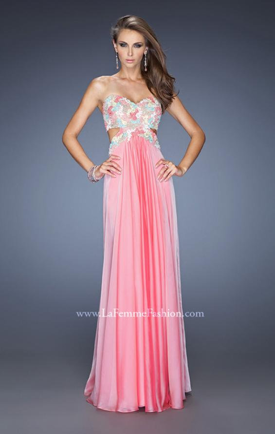 Picture of: Chiffon Prom Gown with Lace, Jewels, and Cut Outs, Style: 20059, Detail Picture 3