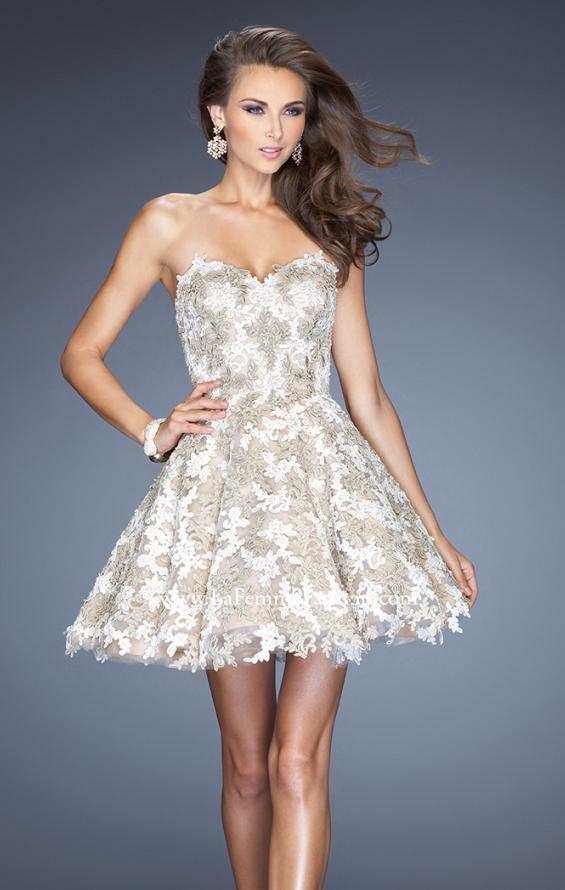 Picture of: Short A-line Cocktail Dress with Lace and a Full Skirt, Style: 20063, Main Picture