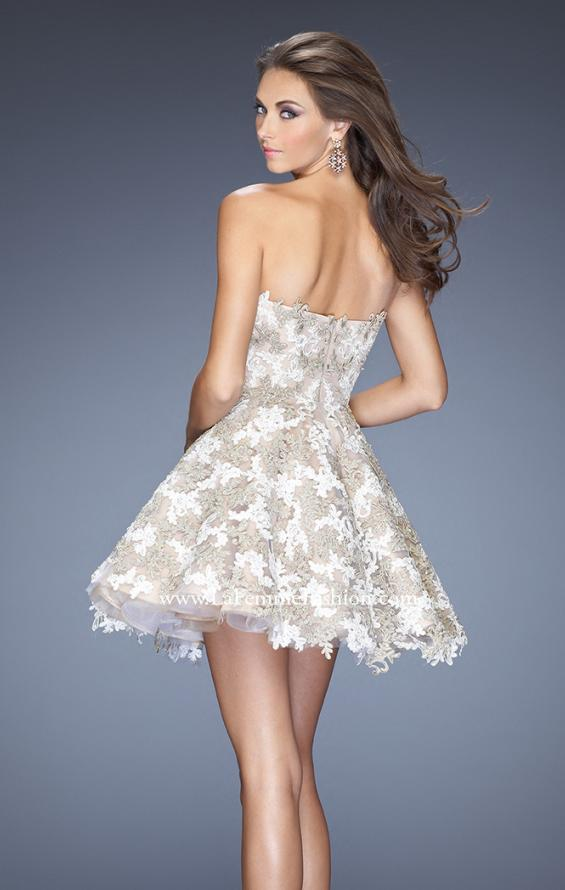 Picture of: Short A-line Cocktail Dress with Lace and a Full Skirt, Style: 20063, Detail Picture 4