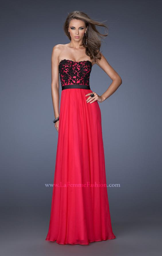 Picture of: Long Chiffon Prom Dress with Belt and Sweetheart Neck, Style: 20068, Main Picture