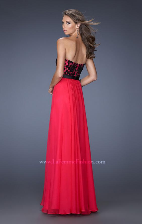 Picture of: Long Chiffon Prom Dress with Belt and Sweetheart Neck, Style: 20068, Back Picture