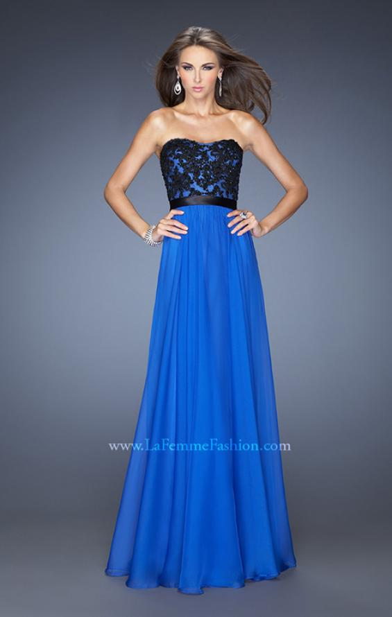 Picture of: Long Chiffon Prom Dress with Belt and Sweetheart Neck, Style: 20068, Detail Picture 1