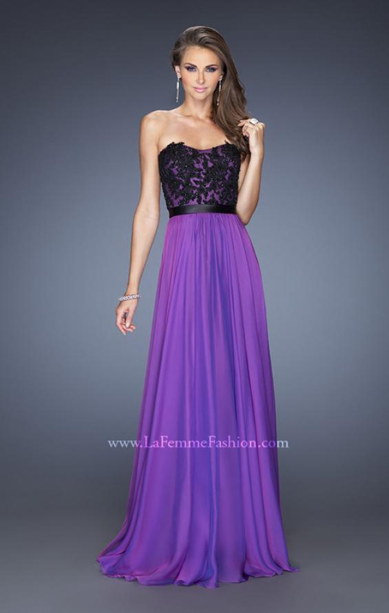 Picture of: Long Chiffon Prom Dress with Belt and Sweetheart Neck, Style: 20068, Detail Picture 2