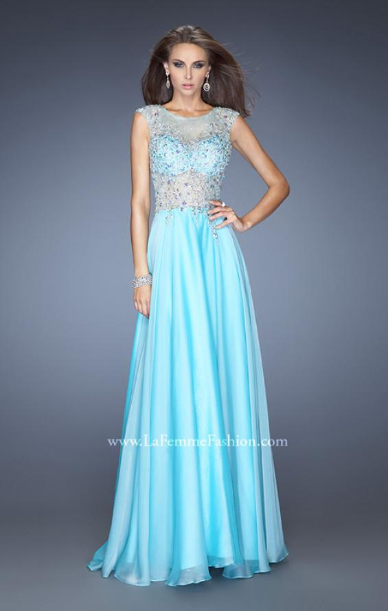 Picture of: Chiffon Prom Dress with Boat Neck and Cap Sleeves in Blue, Style: 20074, Main Picture