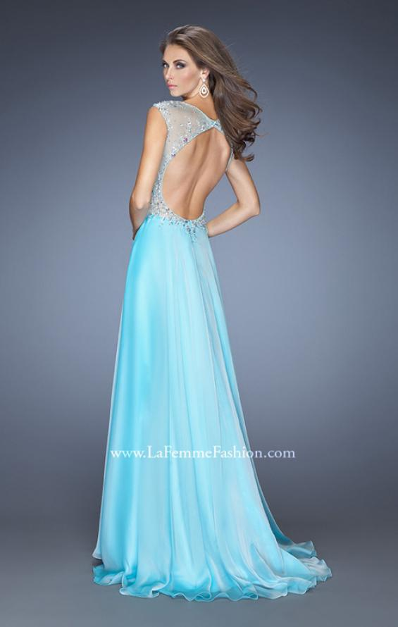 Picture of: Chiffon Prom Dress with Boat Neck and Cap Sleeves in Blue, Style: 20074, Back Picture
