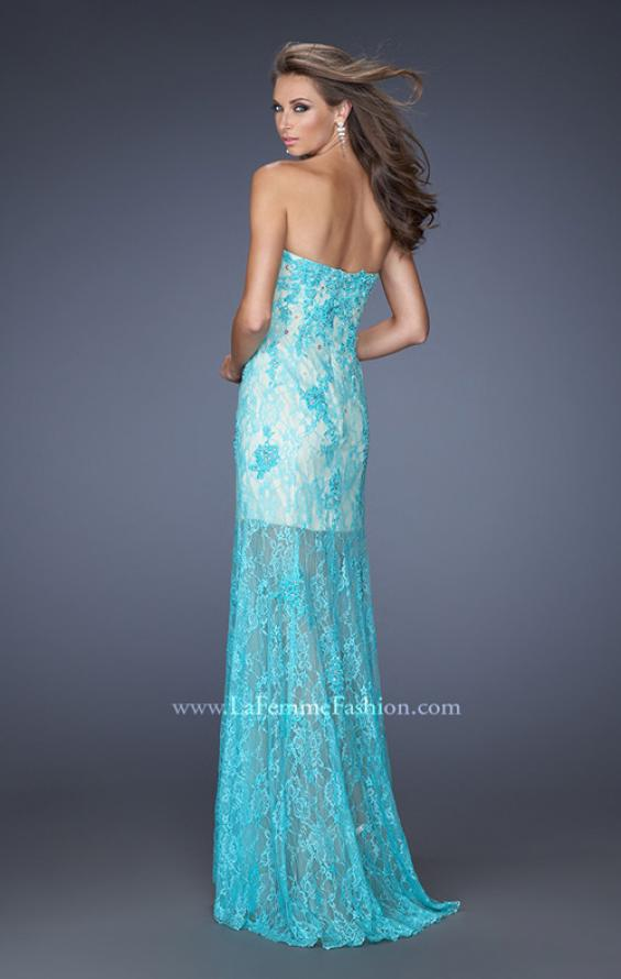 Picture of: Lace Prom Gown with Jewels and Sweetheart Neckline, Style: 20075, Back Picture