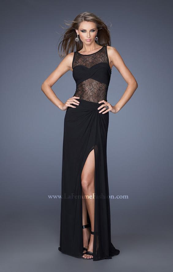 Picture of: Jersey and Lace Combination Prom Dress with High Slit, Style: 20093, Main Picture