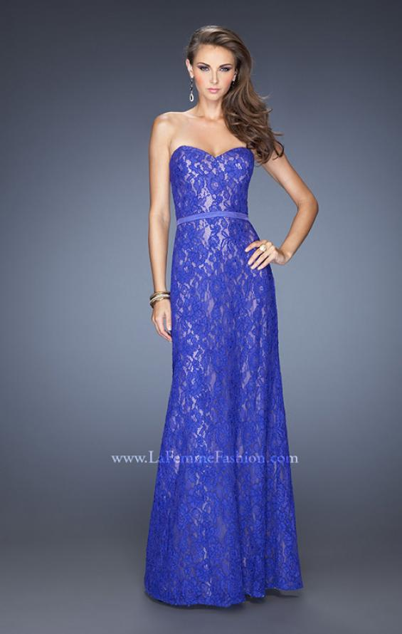 Picture of: Strapless Column Prom Dress with Lace Detail and Belt in Blue, Style: 20107, Main Picture