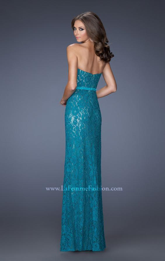 Picture of: Strapless Column Prom Dress with Lace Detail and Belt in Blue, Style: 20107, Back Picture