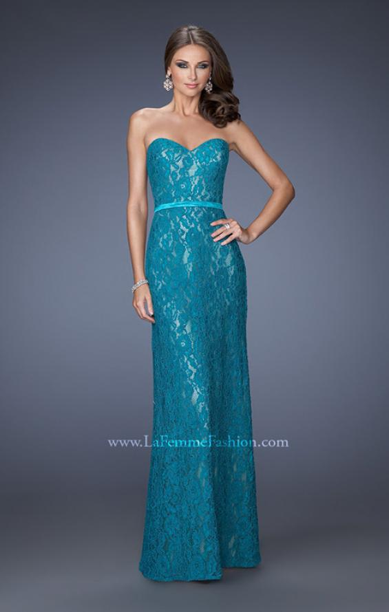 Picture of: Strapless Column Prom Dress with Lace Detail and Belt in Blue, Style: 20107, Detail Picture 1