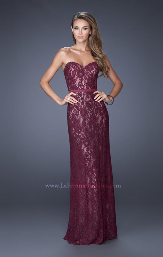 Picture of: Strapless Column Prom Dress with Lace Detail and Belt in Red, Style: 20107, Detail Picture 2