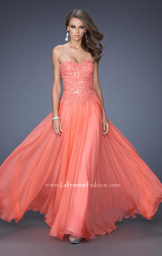 Picture of: Drop Waist Long Chiffon Prom Dress with Jeweled Lace in Orange, Style: 20108, Main Picture