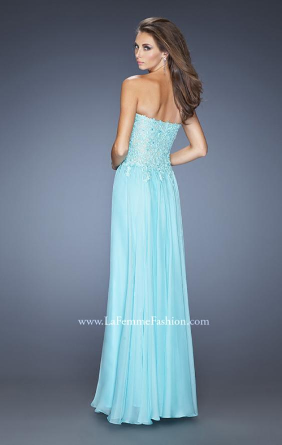 Picture of: Drop Waist Long Chiffon Prom Dress with Jeweled Lace in Blue, Style: 20108, Back Picture