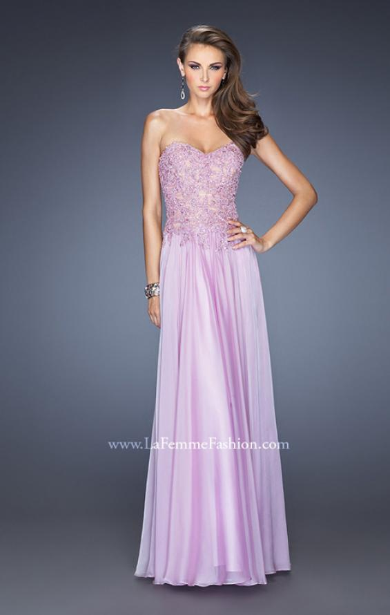 Picture of: Drop Waist Long Chiffon Prom Dress with Jeweled Lace in Purple, Style: 20108, Detail Picture 1