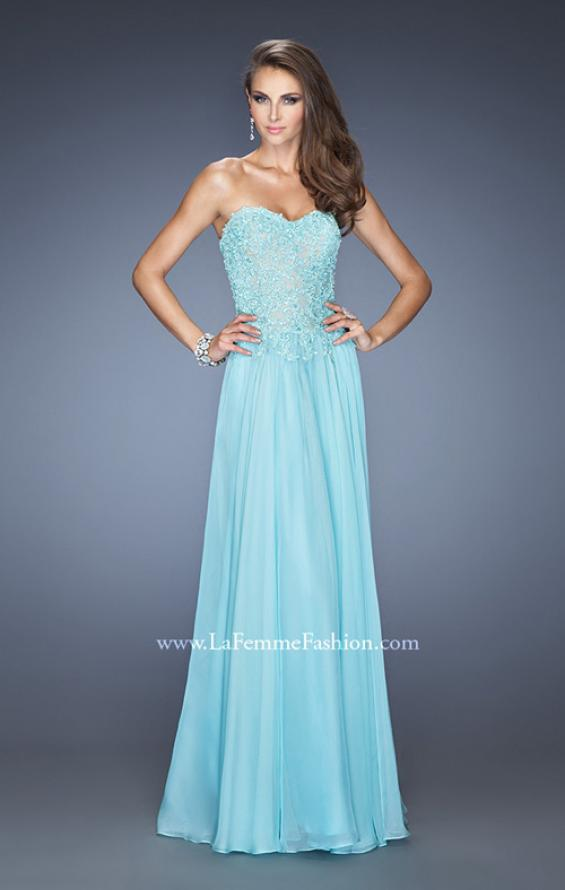 Picture of: Drop Waist Long Chiffon Prom Dress with Jeweled Lace in Blue, Style: 20108, Detail Picture 2