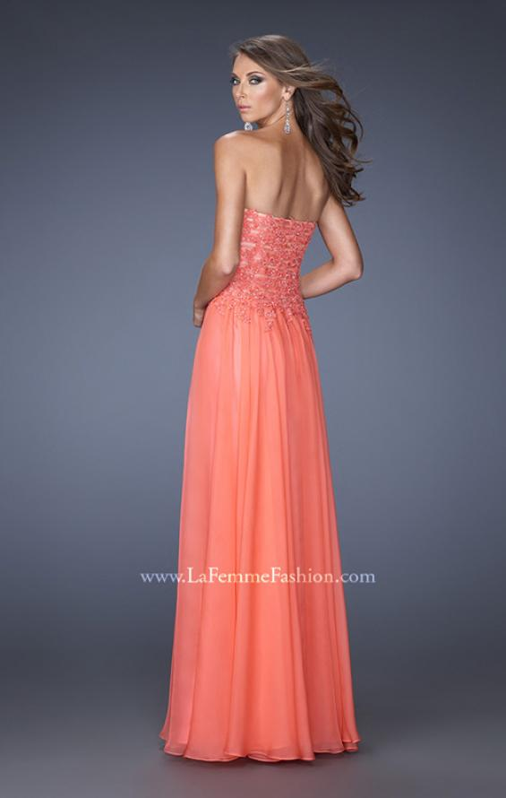 Picture of: Drop Waist Long Chiffon Prom Dress with Jeweled Lace in Orange, Style: 20108, Detail Picture 3
