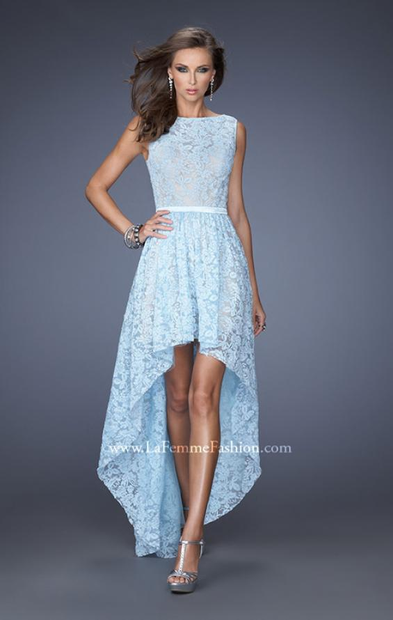 Picture of: High-Low Skirt Prom Dress with Illusion Lace in Blue, Style: 20113, Main Picture