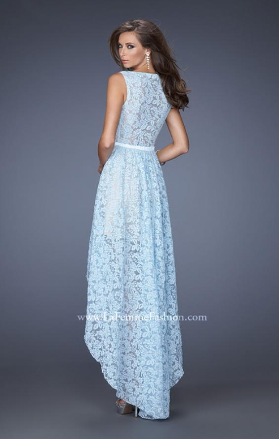 Picture of: High-Low Skirt Prom Dress with Illusion Lace in Blue, Style: 20113, Back Picture