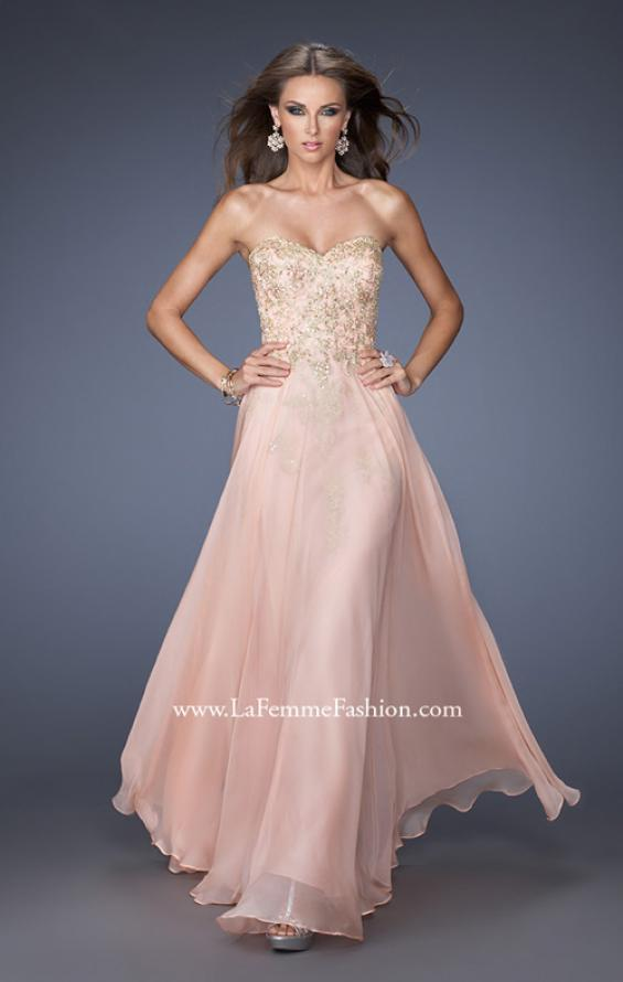 Picture of: Long Strapless Chiffon Prom Dress with Gold Jeweled Lace in Pink, Style: 20114, Main Picture