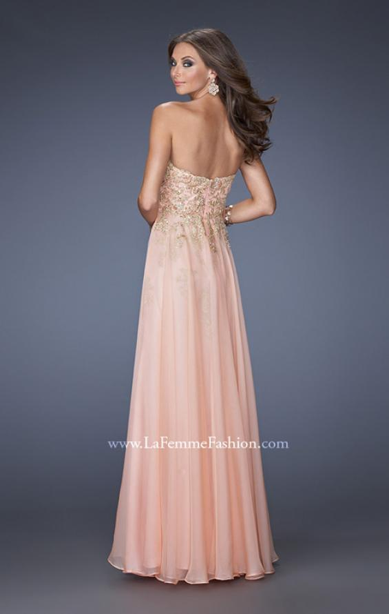 Picture of: Long Strapless Chiffon Prom Dress with Gold Jeweled Lace in Pink, Style: 20114, Back Picture