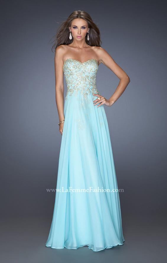 Picture of: Long Strapless Chiffon Prom Dress with Gold Jeweled Lace in Blue, Style: 20114, Detail Picture 1