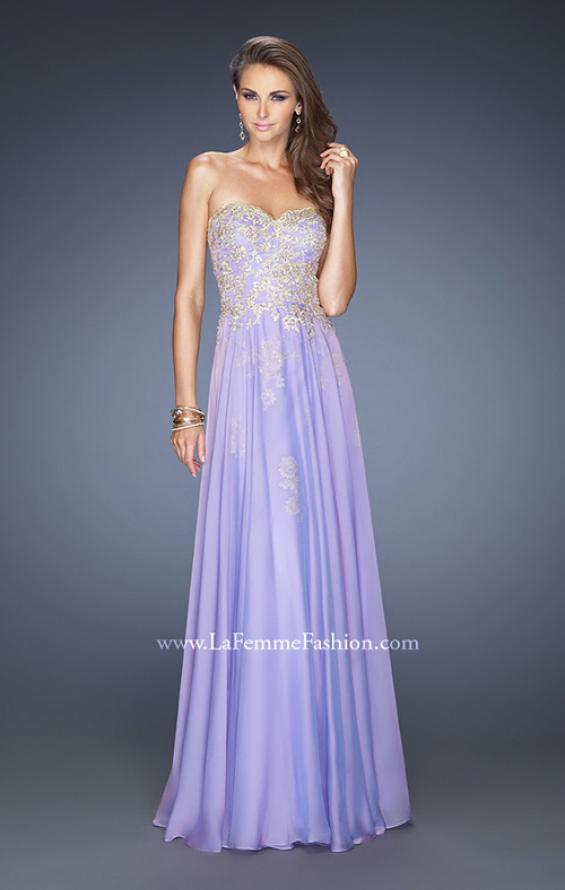 Picture of: Long Strapless Chiffon Prom Dress with Gold Jeweled Lace in Purple, Style: 20114, Detail Picture 2