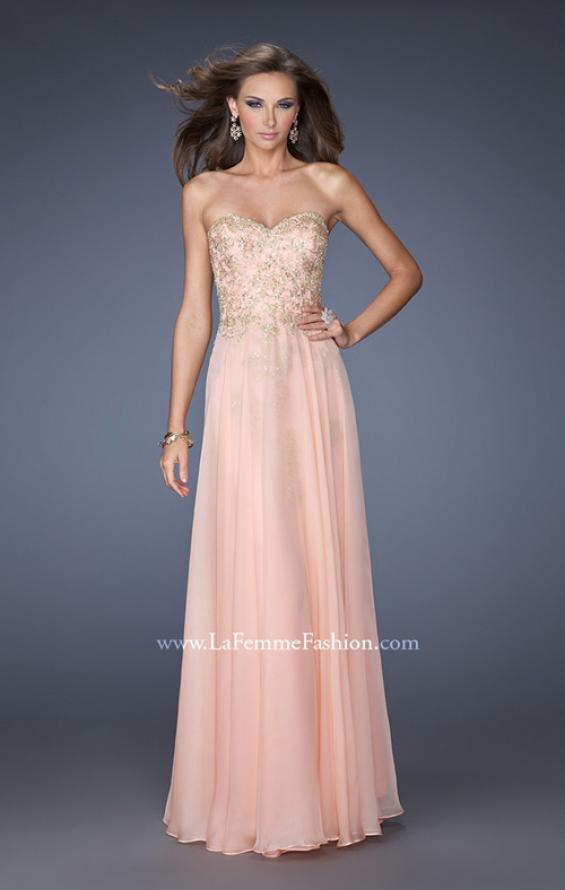 Picture of: Long Strapless Chiffon Prom Dress with Gold Jeweled Lace in Pink, Style: 20114, Detail Picture 3