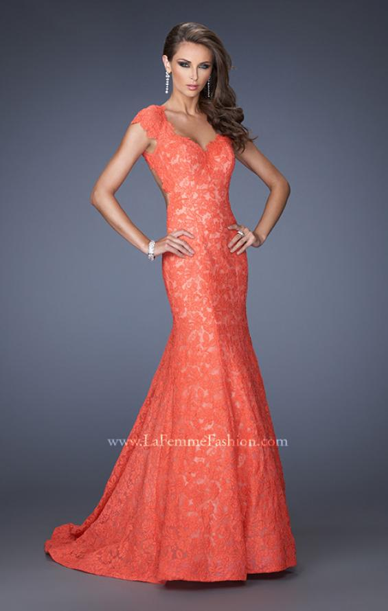 Picture of: Cap Sleeve Lace Mermaid Dress with Open Back in Orange, Style: 20117, Main Picture